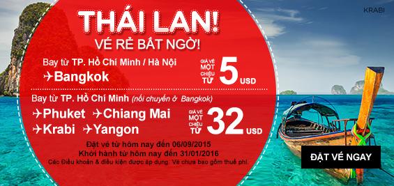 Đặt mua vé máy bay đi Thái Lan giá rẻ hãng Air Asia