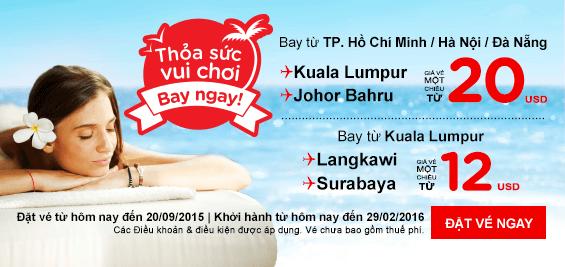Đặt mua vé máy bay giá rẻ hãng Air Asia tại Vietnam Booking