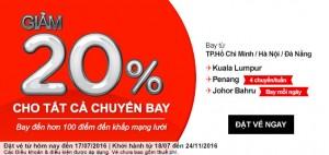 AirAsia – Giảm 20% giá vé cho mọi điểm đến