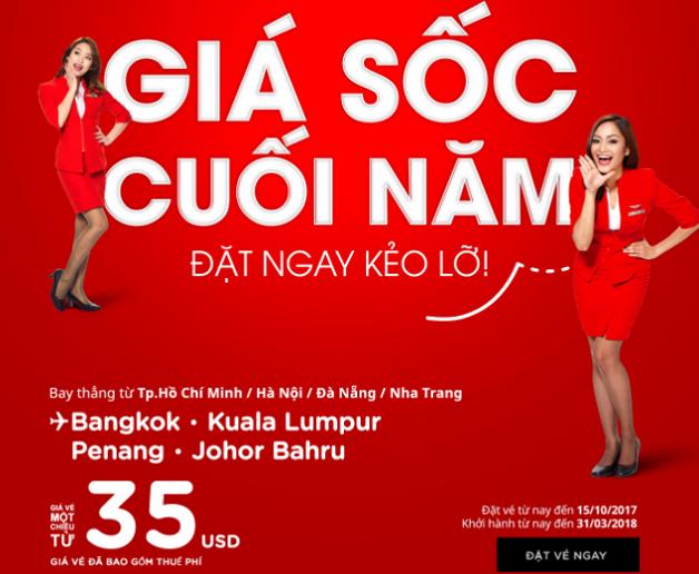AirAsia tung vé giá sốc từ 35 USD bay khắp Đông Nam Á