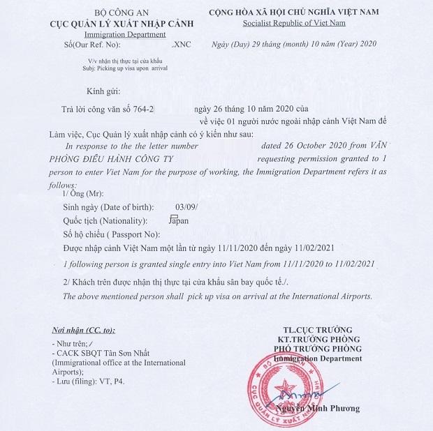 Dịch vụ xin công văn nhập cảnh Việt Nam mới nhất